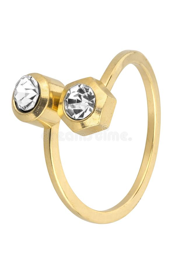 Adjustable woman gold ring with two diamonds, isolated on white background, clipping path included.  royalty free stock images