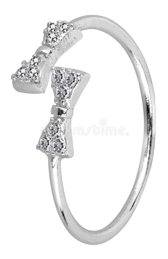 Adjustable woman silver ring with ribbon design and diamonds, isolated on white background, clipping path included.  stock images