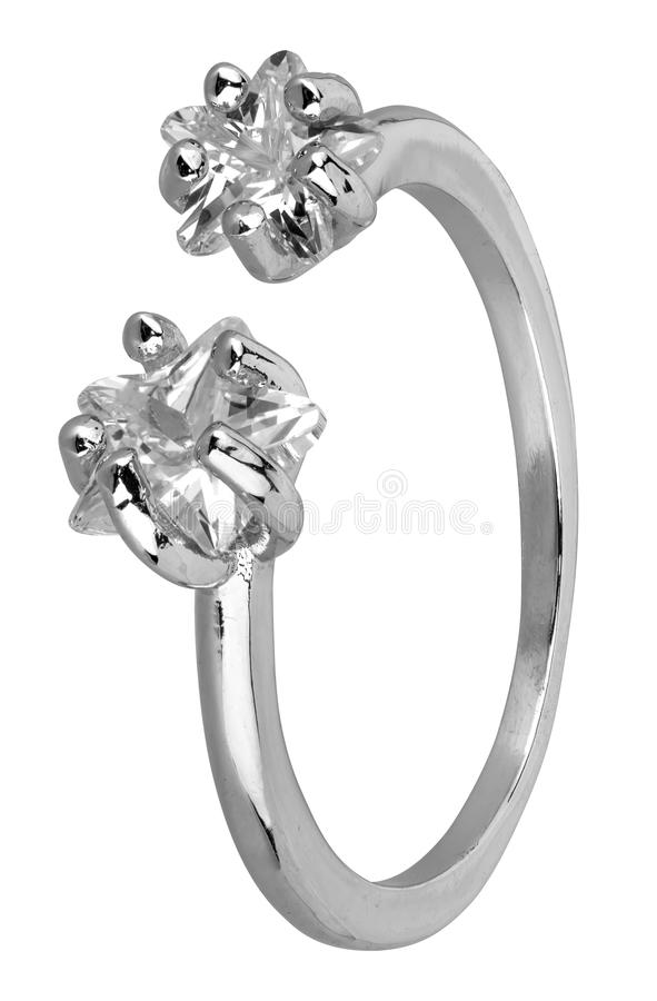 Adjustable woman silver ring with two diamonds, isolated on white background, clipping path included.  royalty free stock photo
