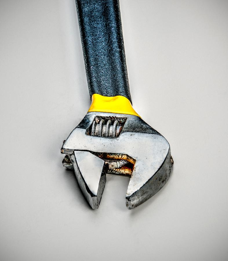 Adjustable Wrench HDR Effect. Adjustable wrench on white background with hdr effect royalty free stock photo