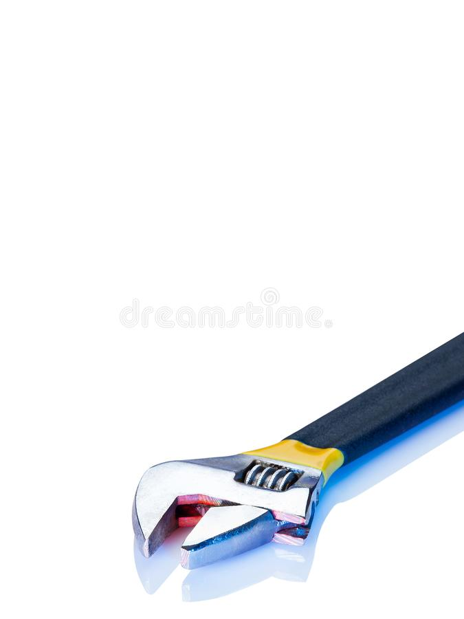 Adjustable Wrench on White. Background isolated with red and blue highlights stock image