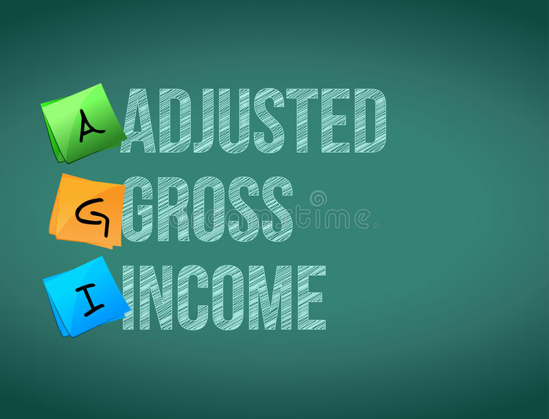 Adjusted gross income post memo chalkboard sign. Illustration design royalty free illustration
