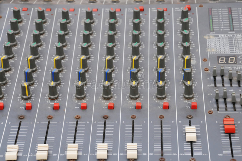 The adjustment board. With a lot of knobs of an audio control system royalty free stock photography