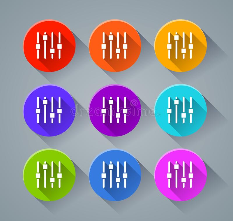 Adjustment icons with various colors stock illustration