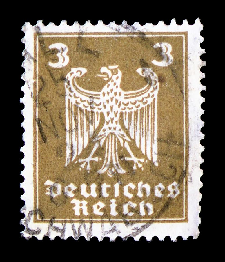 Adler, Definitives serie, circa 1924. MOSCOW, RUSSIA - FEBRUARY 9, 2019: A stamp printed in Germany, German Realm, shows Adler, Definitives serie, circa 1924 stock photo