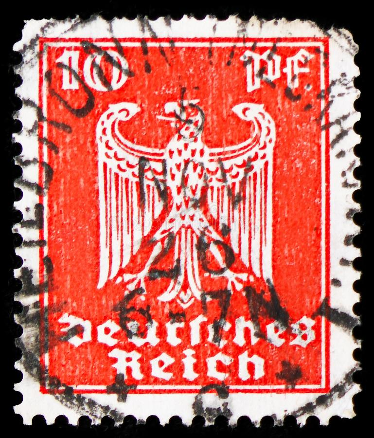 Adler, Definitives, Definitives 7v serie, circa 1924. MOSCOW, RUSSIA - FEBRUARY 20, 2019: A stamp printed in German Realm, shows Adler, Definitives, Definitives stock images