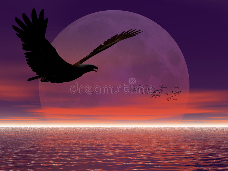 Adler gegen Mond. lizenzfreie abbildung