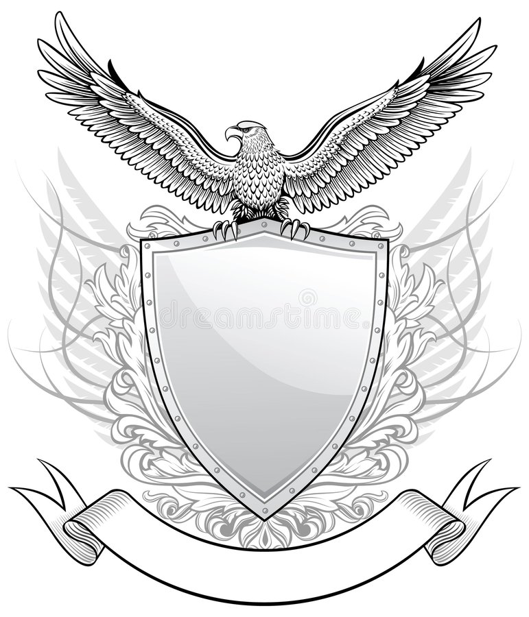Adler nach dem Schild stock abbildung