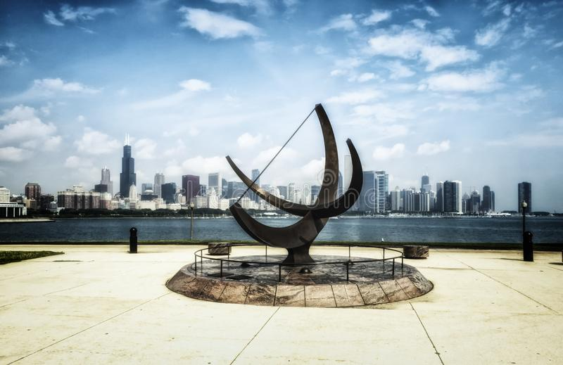 Adler Planetarium Sculpture and Chicago Skyline - Bleached Portrait Artistic Effect - Chicago, Illinois, USA royalty free stock photography