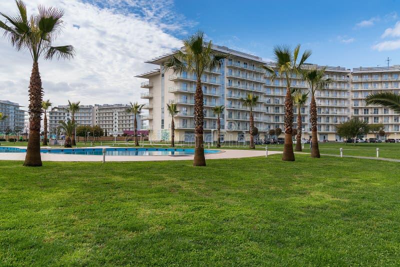 Adler Rosja, Marzec, - 28, 2019 Hotelowych Sochi park?w Adler, Krasnodar region, Rosja obraz royalty free