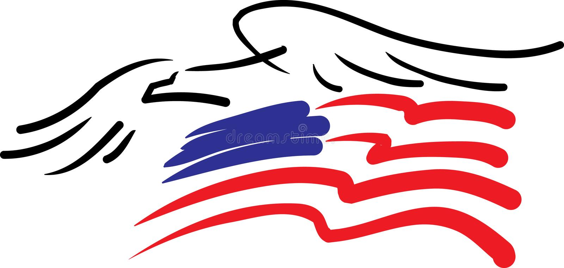 Adler und amerikanische Flagge stock abbildung