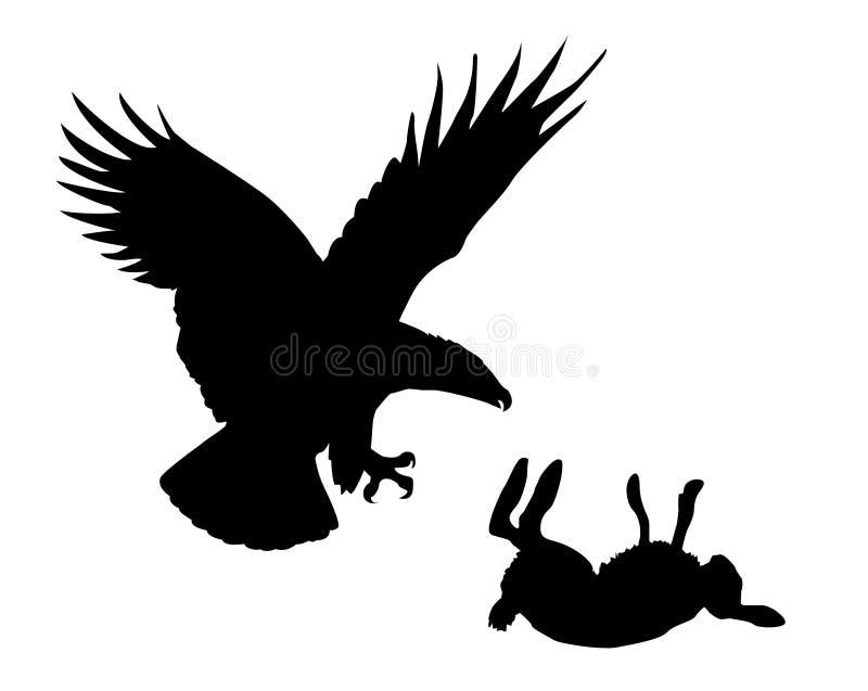 Adler und Hasen lizenzfreie abbildung