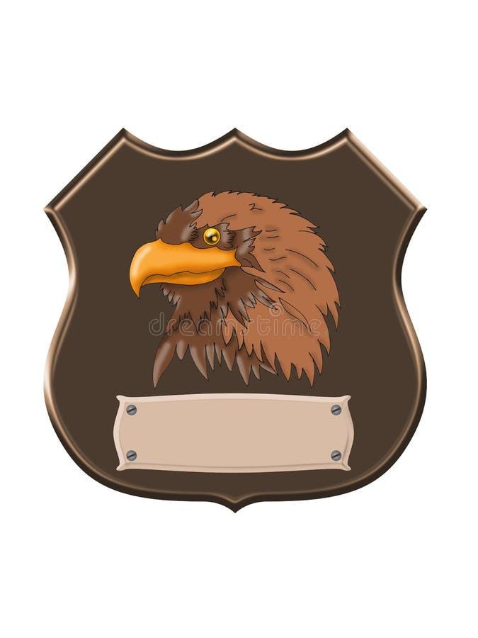 Adlerkopf auf Schild lizenzfreie abbildung