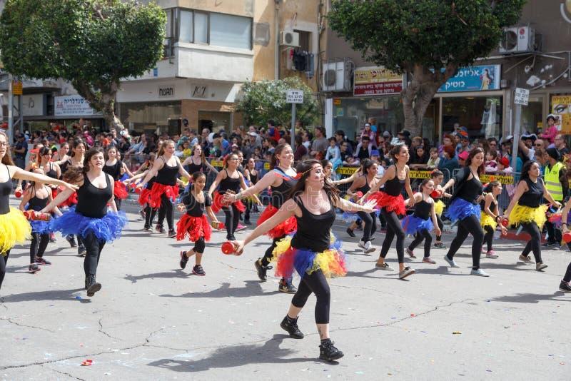 Adloyada霍隆。普珥节狂欢节。以色列 免版税库存图片