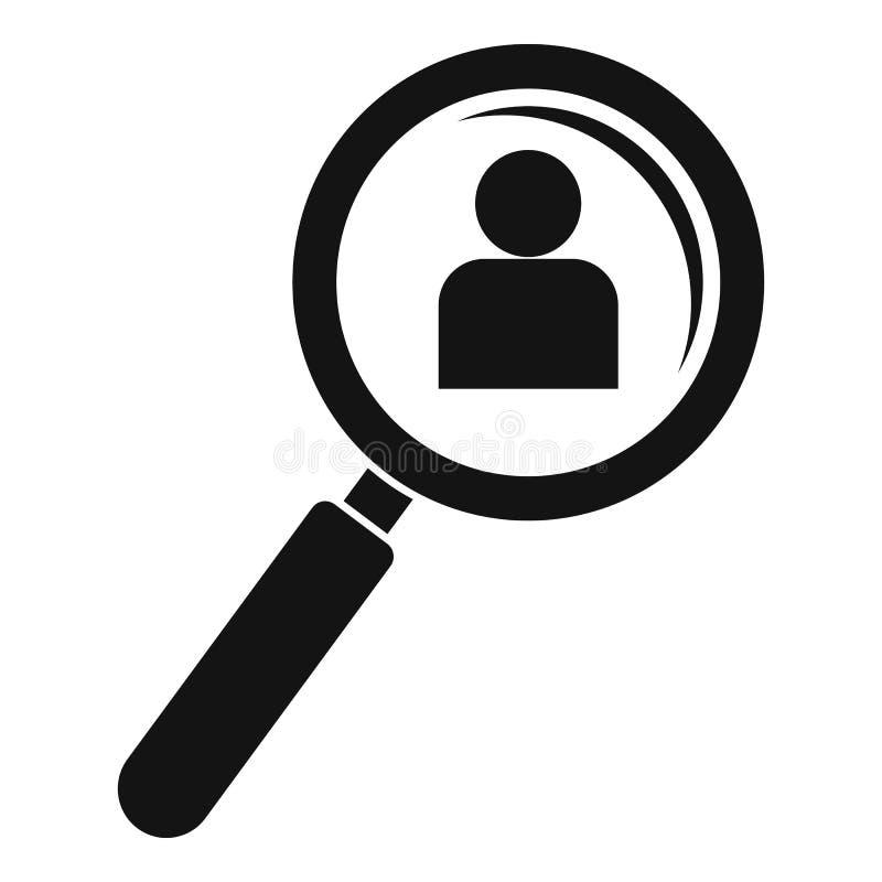Admin agrandir l'icône en verre, style simple illustration de vecteur