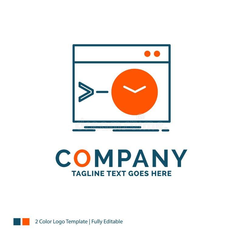 Admin, Befehl, Wurzel, Software, Anschluss Logo Design Blau und O lizenzfreie abbildung