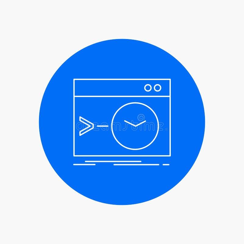 Admin, bevel, wortel, software, eind Wit Lijnpictogram op Cirkelachtergrond Vectorpictogramillustratie stock illustratie