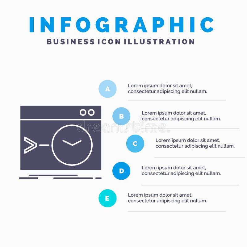 Admin, bevel, wortel, software, eindinfographics-Malplaatje voor Website en Presentatie GLyph Grijs pictogram met Blauwe infograp stock illustratie