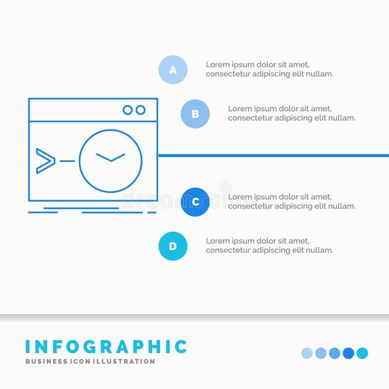 Admin, bevel, wortel, software, eindinfographics-Malplaatje voor Website en Presentatie Infographic stijl van het lijn de Blauwe  vector illustratie