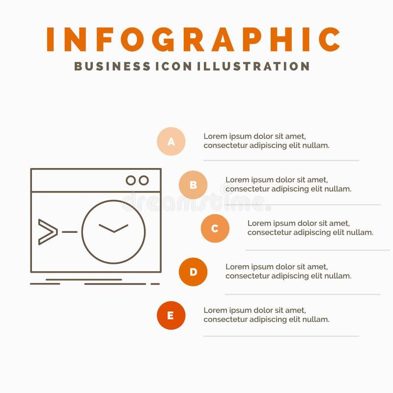 Admin, bevel, wortel, software, eindinfographics-Malplaatje voor Website en Presentatie Lijn Grijs pictogram met Sinaasappel stock illustratie