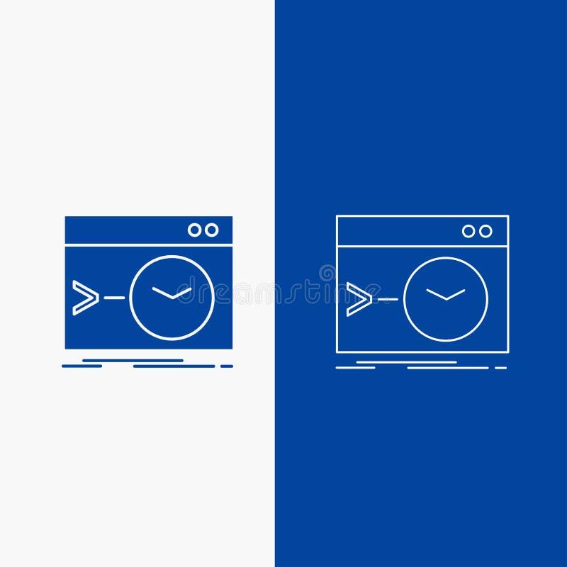 Admin, bevel, wortel, software, eindlijn en Glyph-Webknoop in Blauwe kleuren Verticale Banner voor UI en UX, website of mobiel stock illustratie