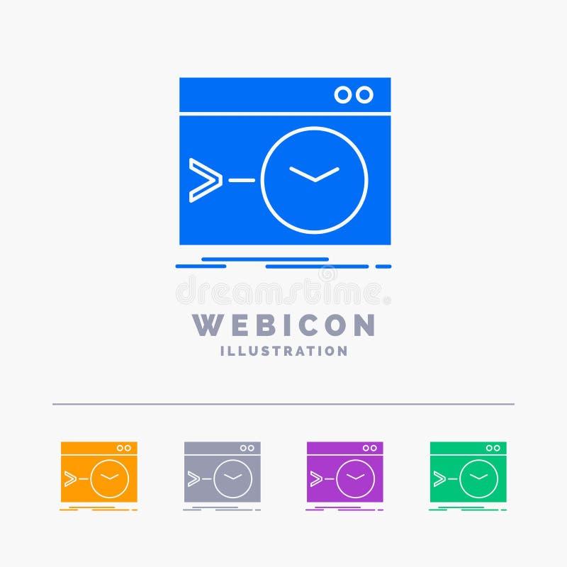 Admin, bevel, wortel, software, het eindmalplaatje van het het Webpictogram van 5 die Kleurenglyph op wit wordt geïsoleerd Vector stock illustratie