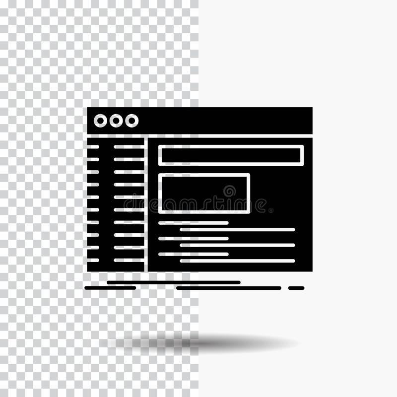 Admin, console, paneel, wortel, het Pictogram van softwareglyph op Transparante Achtergrond Zwart pictogram royalty-vrije illustratie