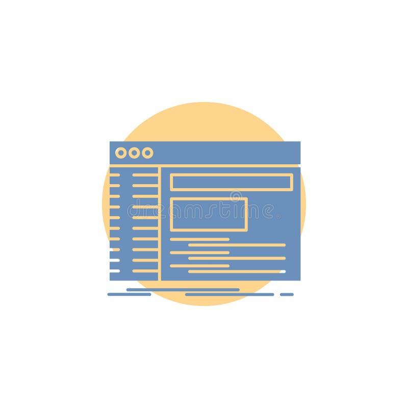 Admin, console, paneel, wortel, het Pictogram van softwareglyph royalty-vrije illustratie
