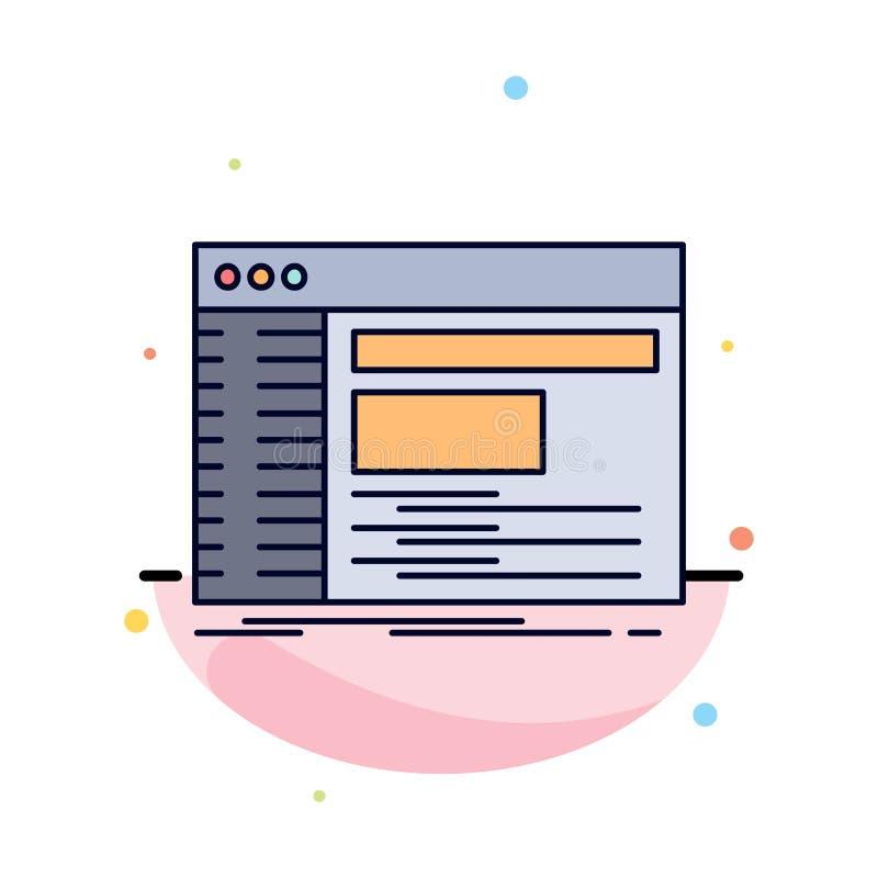 Admin, console, paneel, wortel, het Pictogramvector van de software Vlakke Kleur royalty-vrije illustratie