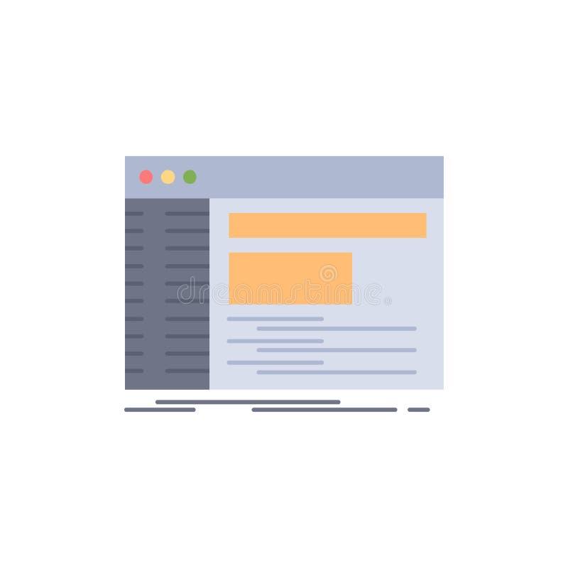 Admin, console, paneel, wortel, het Pictogramvector van de software Vlakke Kleur vector illustratie