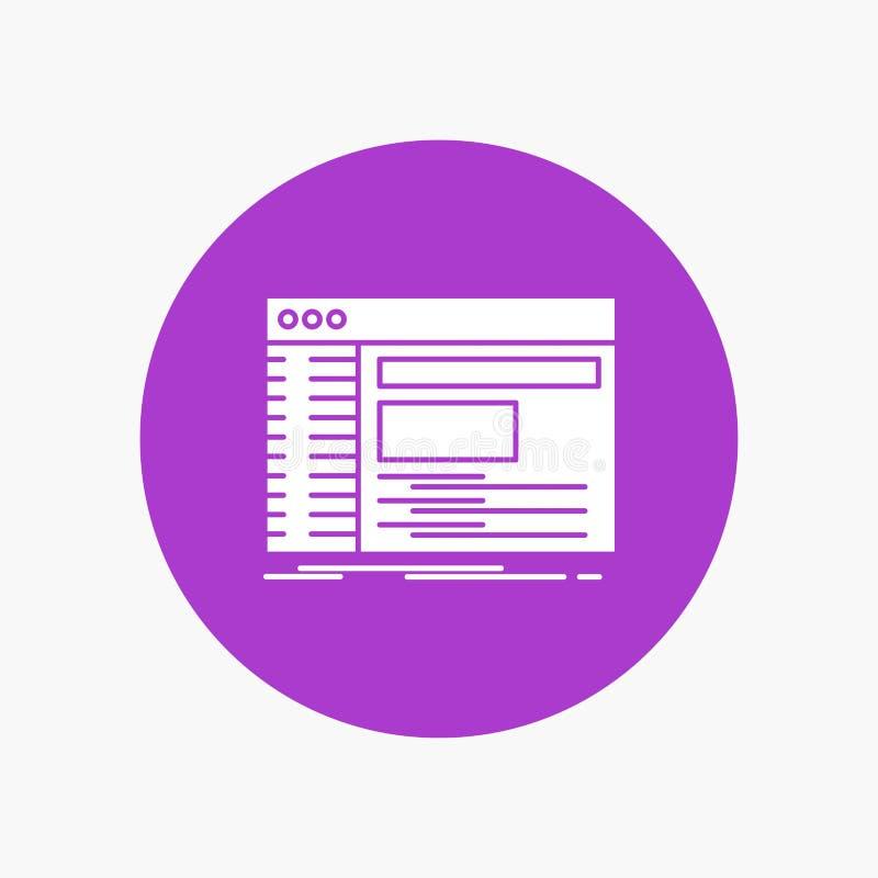 Admin, console, paneel, wortel, Pictogram van software het Witte Glyph in Cirkel Vectorknoopillustratie stock illustratie