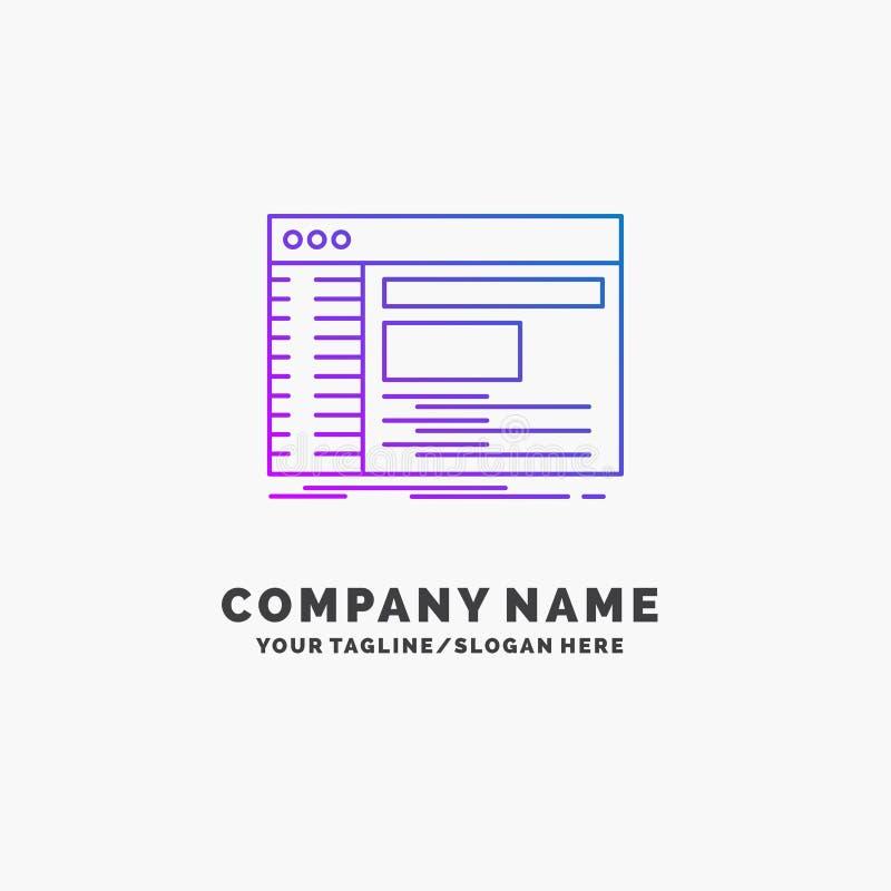 Admin, console, paneel, wortel, software Purpere Zaken Logo Template Plaats voor Tagline vector illustratie