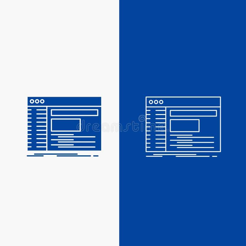 Admin, console, paneel, wortel, softwarelijn en Glyph-Webknoop in Blauwe kleuren Verticale Banner voor UI en UX, website of mobie royalty-vrije illustratie
