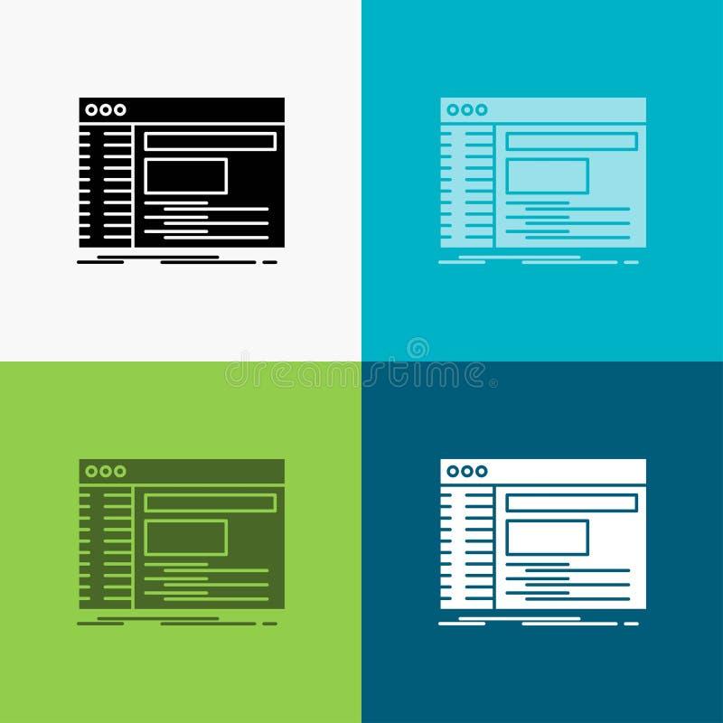 Admin, console, paneel, wortel, softwarepictogram over Diverse Achtergrond glyph stijlontwerp, voor Web dat en app wordt ontworpe stock illustratie