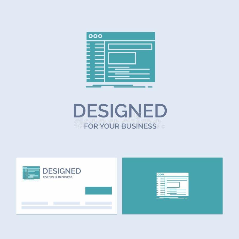 Admin, console, paneel, wortel, softwarezaken Logo Glyph Icon Symbol voor uw zaken Turkooise Visitekaartjes met Merkembleem royalty-vrije illustratie