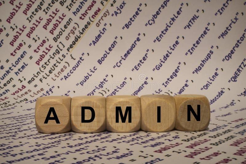 Admin - cubo com letras e palavras do computador, software, categorias do Internet, cubos de madeira imagens de stock royalty free