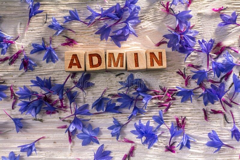 Admin en los cubos de madera imagenes de archivo