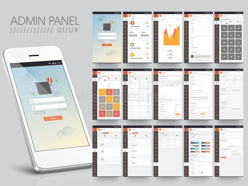 Admin Panel User Interface layout. Creative Admin Panel User Interface layout with Smartphone presentation royalty free illustration