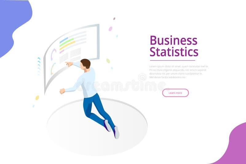 A administração de empresas, cartas de negócio, e visualização financeiros da finança na frente da tela para a análise de dados ilustração royalty free