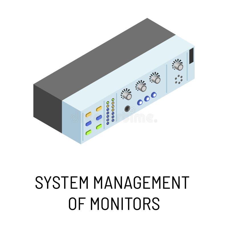 Administración de sistemas del dispositivo portátil electrónico aislado monitores ilustración del vector