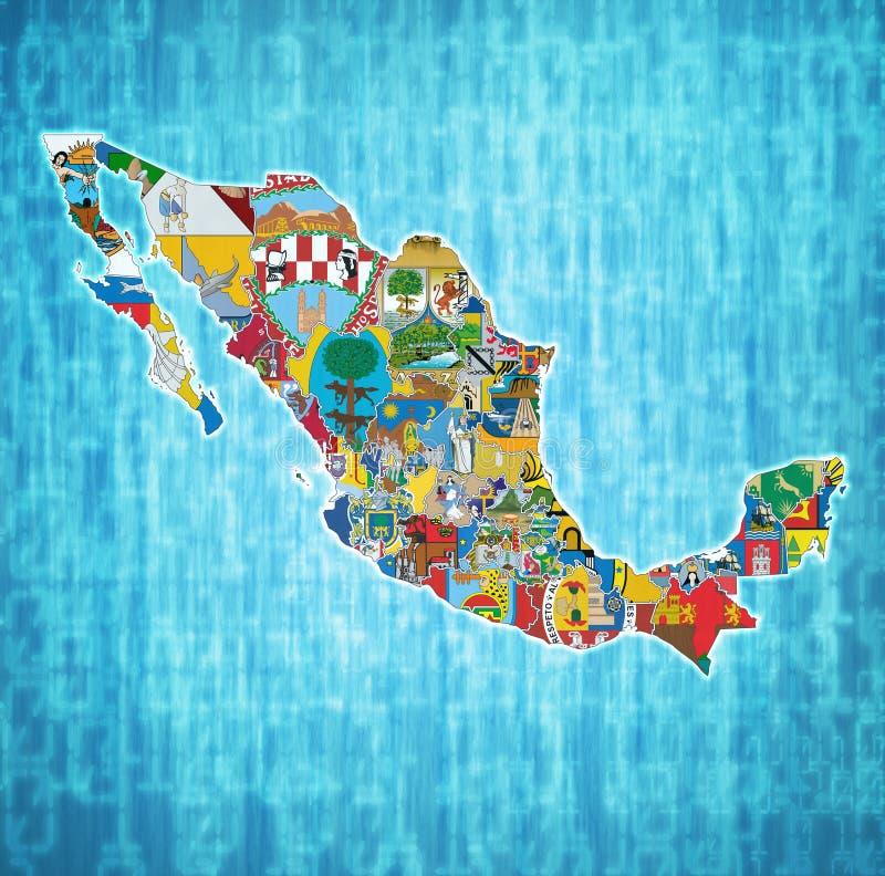 Administraci mapa Meksyk ilustracja wektor