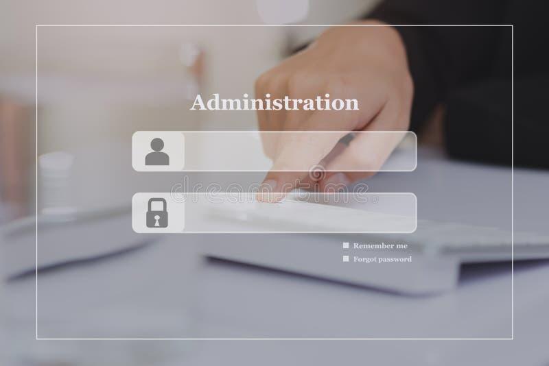 Administraci nazwy użytkownika parawanowy tło na dotyk klawiaturze zdjęcia stock
