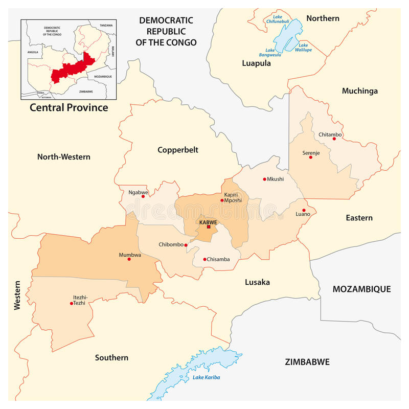 Administracyjna i polityczna mapa Środkowa prowincja zambiowie ilustracja wektor
