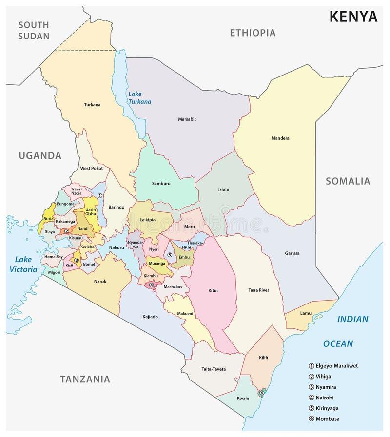Administracyjna i polityczna mapa republika Kenja royalty ilustracja