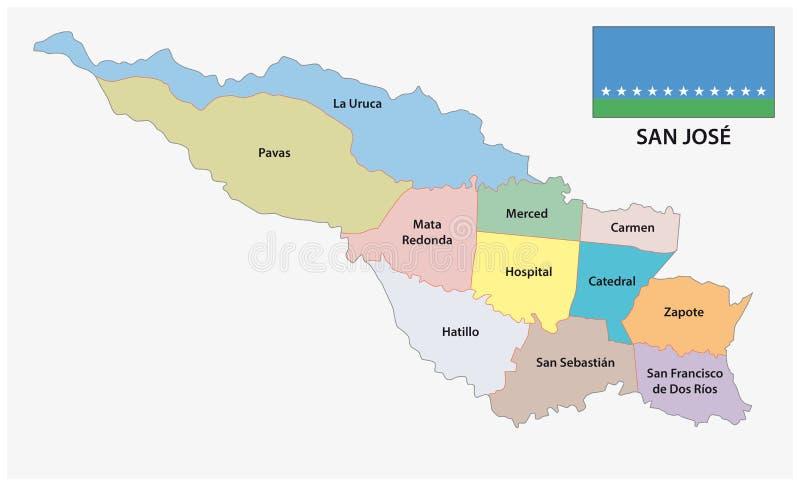 Administracyjna i polityczna mapa San Jose, Costa Rica ilustracji