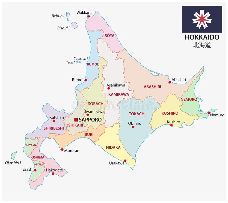 Administracyjna i polityczna wektorowa mapa japoński prefektura hokkaido z flagą royalty ilustracja