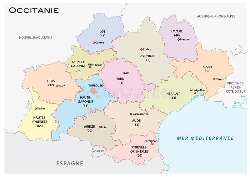 Administracyjna i polityczna wektorowa mapa occitanie region, France ilustracja wektor