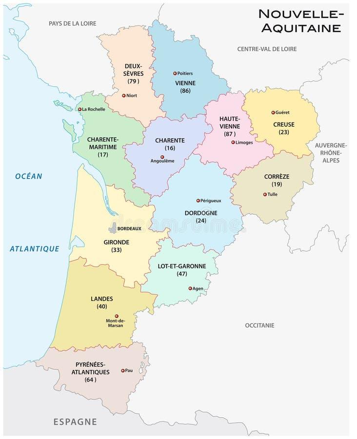Administracyjna i polityczna wektorowa mapa region Aquitaine, Francja ilustracja wektor