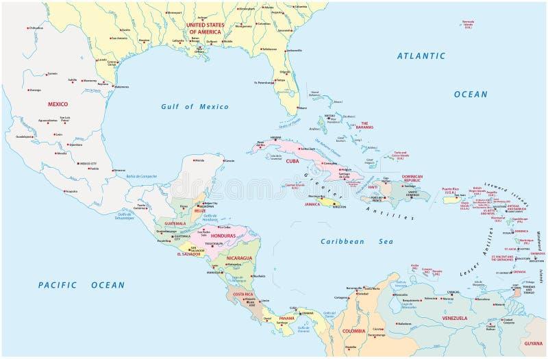 Administracyjna mapa Ameryka Środkowa i kraj nad morzem karaibskim ilustracji