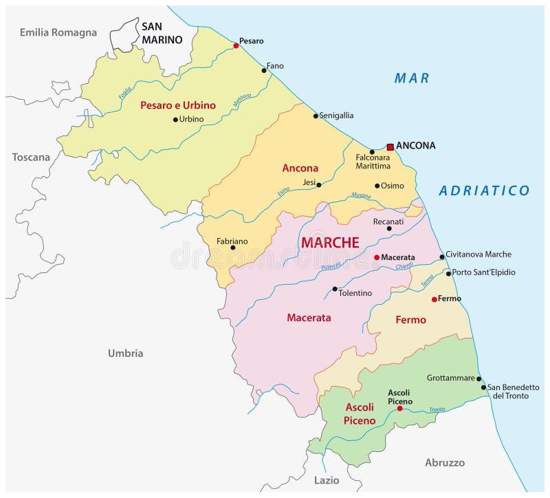 Administracyjna mapa Włoski region Marche royalty ilustracja